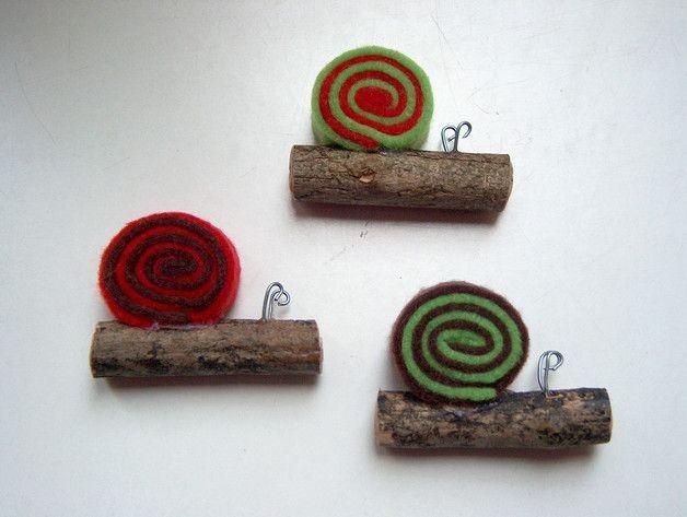 3er Set kleine Schnecken Holz Filz Deko