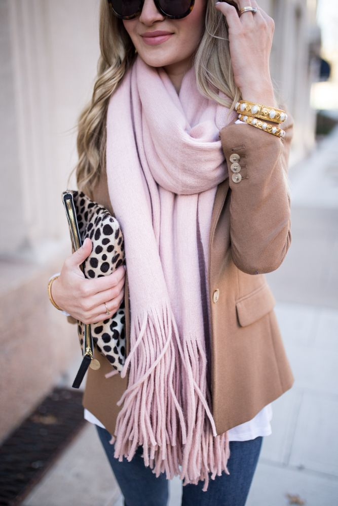 Tan Blazer + Pink Scarf
