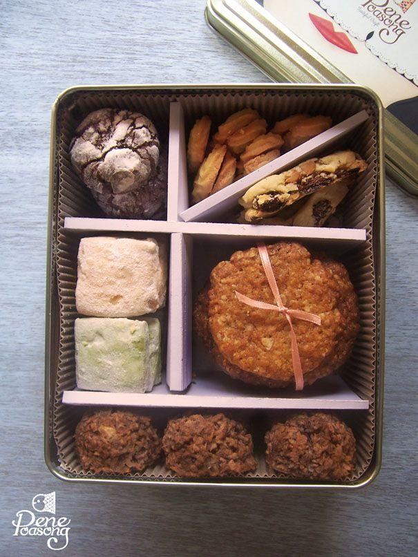 Assorted Cookies by Pene Poasong: Chocolate Crinkle, Viennese, Anzac, Coconut Macaroon, Green Tea Shortbread, Russian Tea Cake