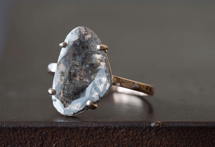Custom Natural Grey-Black Diamond Slice Ring | Alexis Russell Jewelry