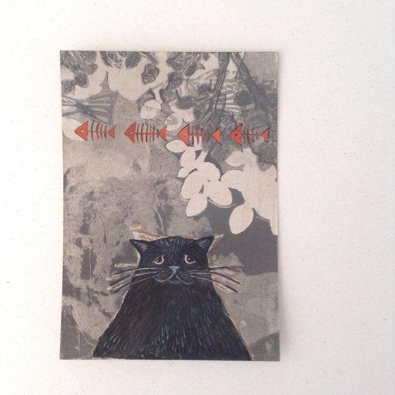 Original Cat card of gelliprint & watercolour . by maritmoss