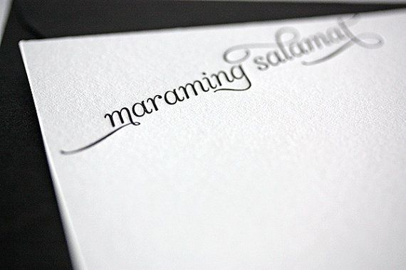 maraming salamat letterpress thank you cards in by penelopespress