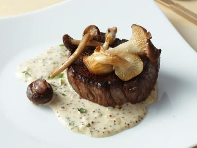 Filet Mignon with Mustard Cream and Wild Mushrooms. I'm so making this on Friday!!! Pre-valentines din din!