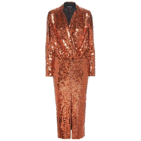 Tom Ford Sequin-Embellished Dress ($13,385) ❤ liked on Polyvore featuring dresses, orange, orange dress, sequin cocktail dresses, sequin embellished dress, brown sequin dress and tom ford