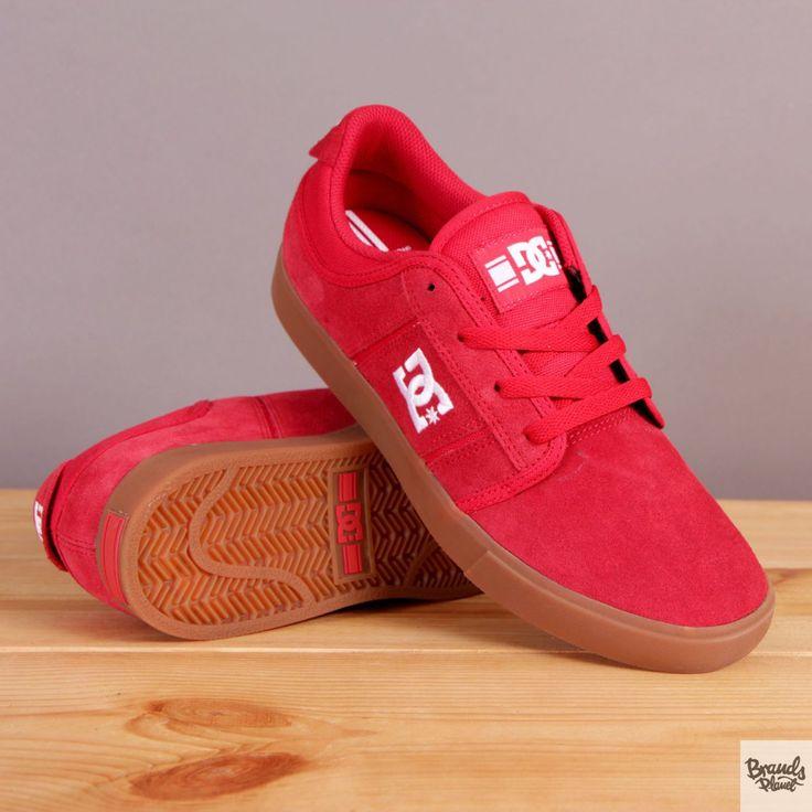 Czerwone męskie buty sportowe na brązowej podeszwie DC RD Grand / www.brandsplanet.pl / #dc shoes #skateboarding