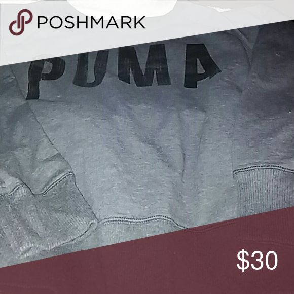 PUMA  SWEATSHIRT NEVER WORN ~~BLACK PUMA SWEATSHIRT WITH PUMA LOGO ON FRONT. GREAT WITH A PAIR OF LEGGINGS OR TO GRAB AND SIT BY A CAMPFIRE ON A COOL NIGHT Puma Sweaters