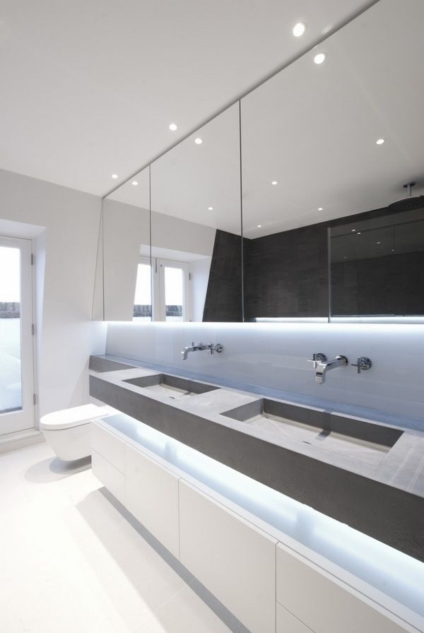 1000 images about bathroom lighting inspiration on for Bathroom strip light