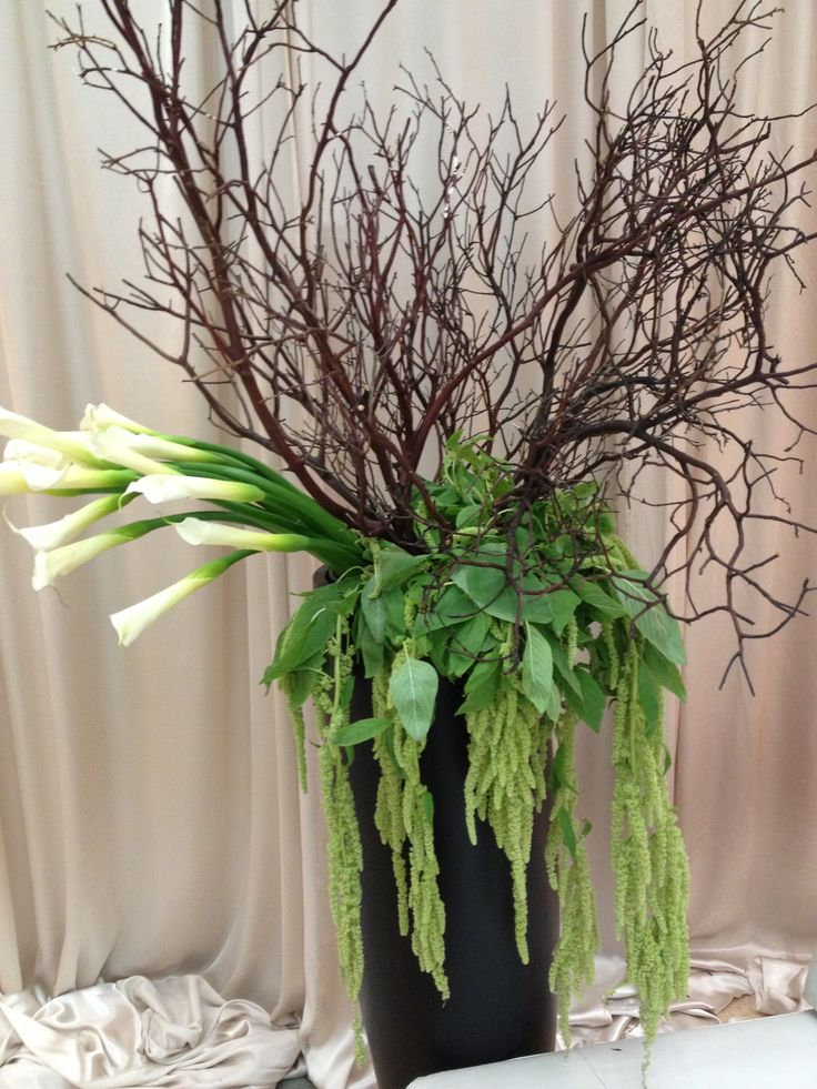 86 best tall centerpieces images on pinterest for Floral arrangements with branches