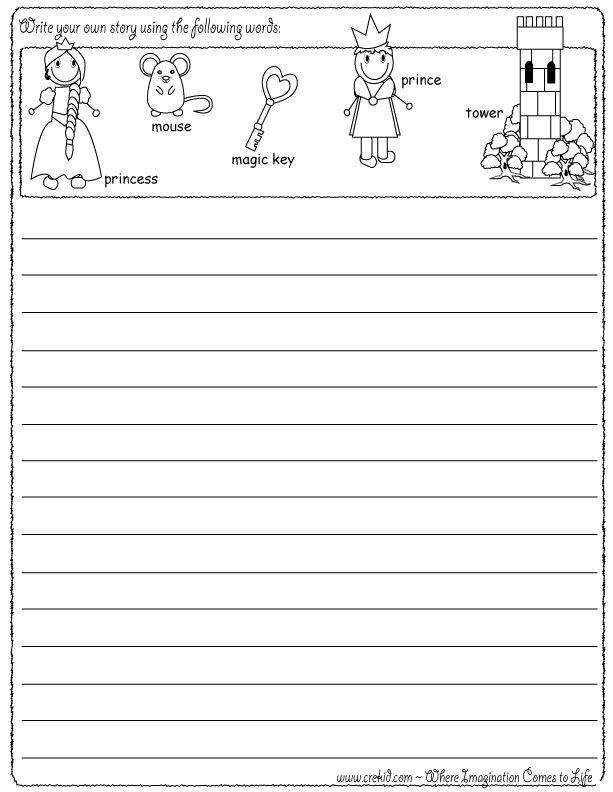 Princess - drawing - writing - stories - story rocks - kindergarten - first grade - second grade - third grade - writing prompts - sentence starters - story prompts - story map - www.crekid.com
