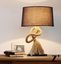 Country style American table lamp rion made Hand made linen rope free shipping abajur(China (Mainland))
