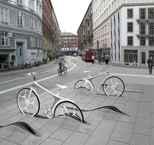 Very cool idea. Not that practical but looks awesome.: Bike Storage, Cool Bike, Street Art, The Cities, Bike Parks, Bike Shared, Bike Art, Stands Design, Streetart