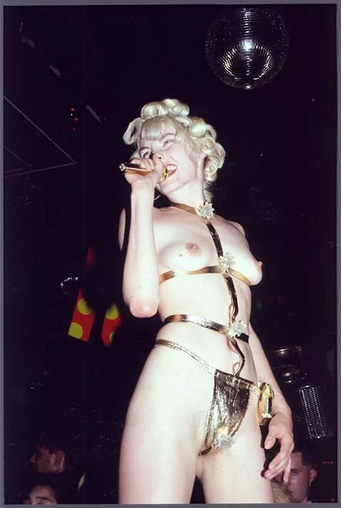 Sara Stockbridge (choice) wearing gold harness with lights made by Ben westwood