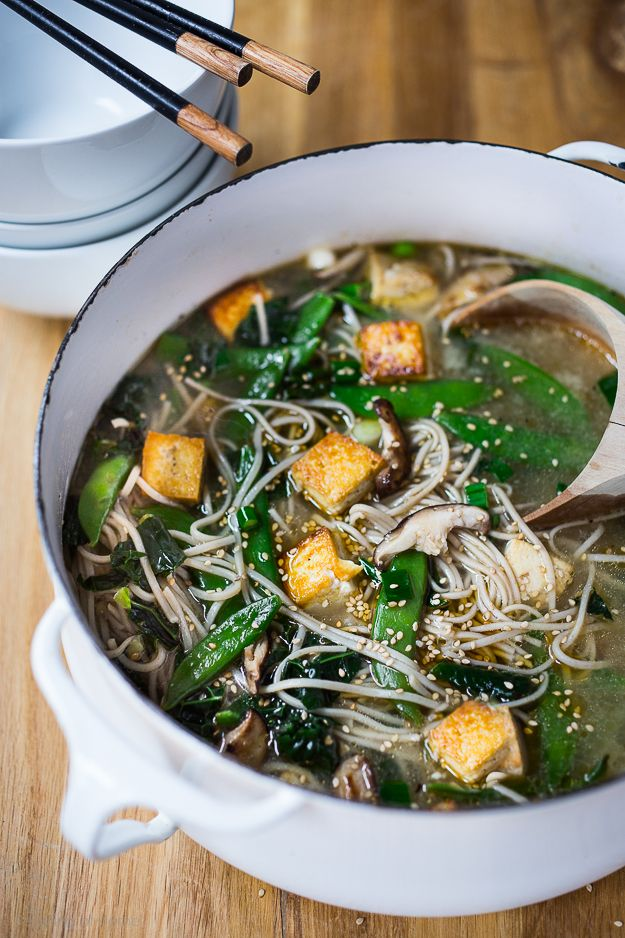Sesame Soba Noodle Soup with Shiitakes, kale, snow peas, and caramelized tofu. Vegan and gluten free and can be made in 15 minutes flat!!