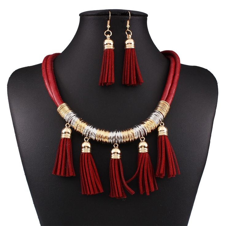 Statement Necklaces Fashion African Jewelry Sets For Weddings Leather Tassel Necklace and Earring Set N3701 //Price: $8.99 & FREE Shipping //     #hashtag1