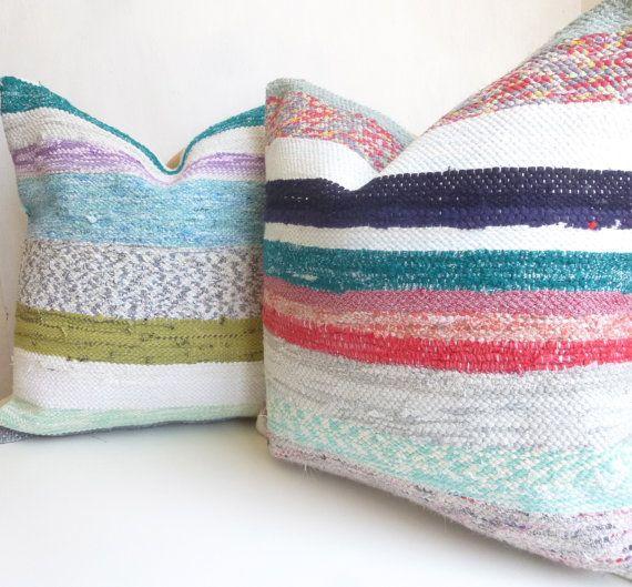 SET OF 2 Turkish Kilim Throw Pillows, White Blue red and Aqua Decorative Cushion Covers, Striped ...