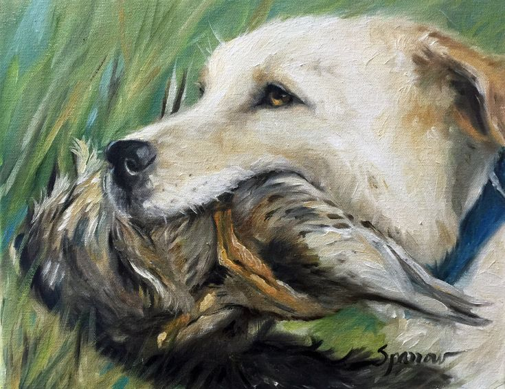 ORIGINAL OIL PAINTING of Yellow Labrador Retriever Lab hunting dog by Mary Sparrow, sporting dog, Duck hunting season Pet portrait by HangingtheMoonShelby on Etsy