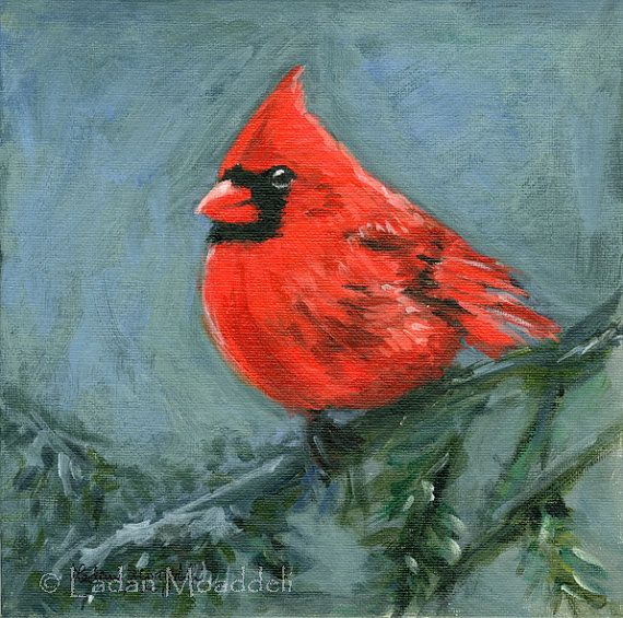 Cardinal bird - print of acrylic painting