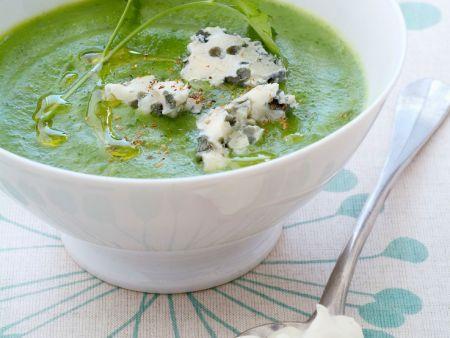 Cremige Brokkoli-Spinat-Suppe mit Käse