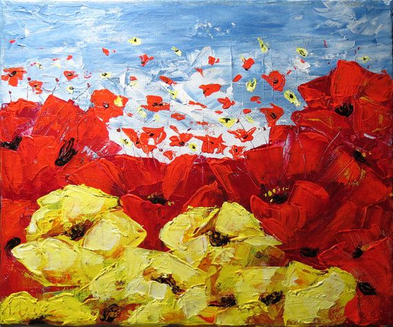 Poppies in the Wind Acrylic Palette Knife Art 8 x 10 by SLMGallery, $45.00