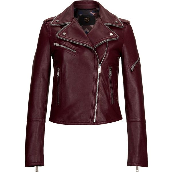 MCM Women's Leather Rider Jacket ($1,895) ❤ liked on Polyvore featuring outerwear, jackets, zipper leather jacket, moto zip jacket, rider leather jacket, genuine leather biker jacket and motorcycle jacket