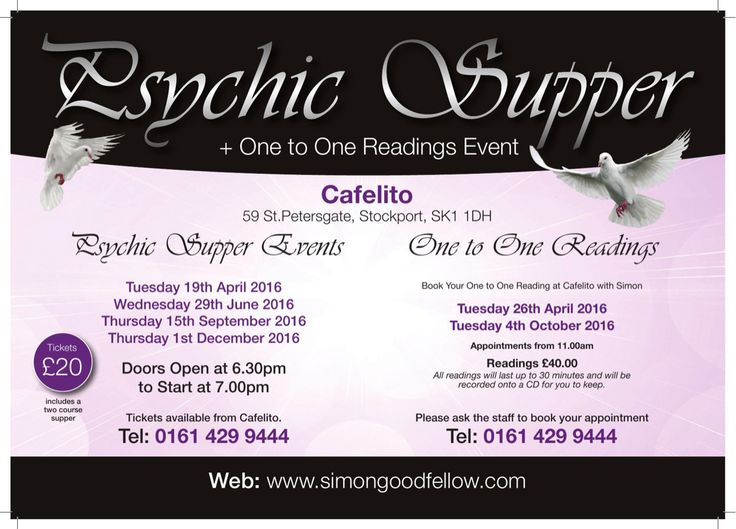 Book Your Tickets Now — Hurry Last Few Tickets Left For The Psychic Supper on Wednesday 29th June 2016 For Tickets Contact Cafelilto on 0161 429 9444 or 07969 421723