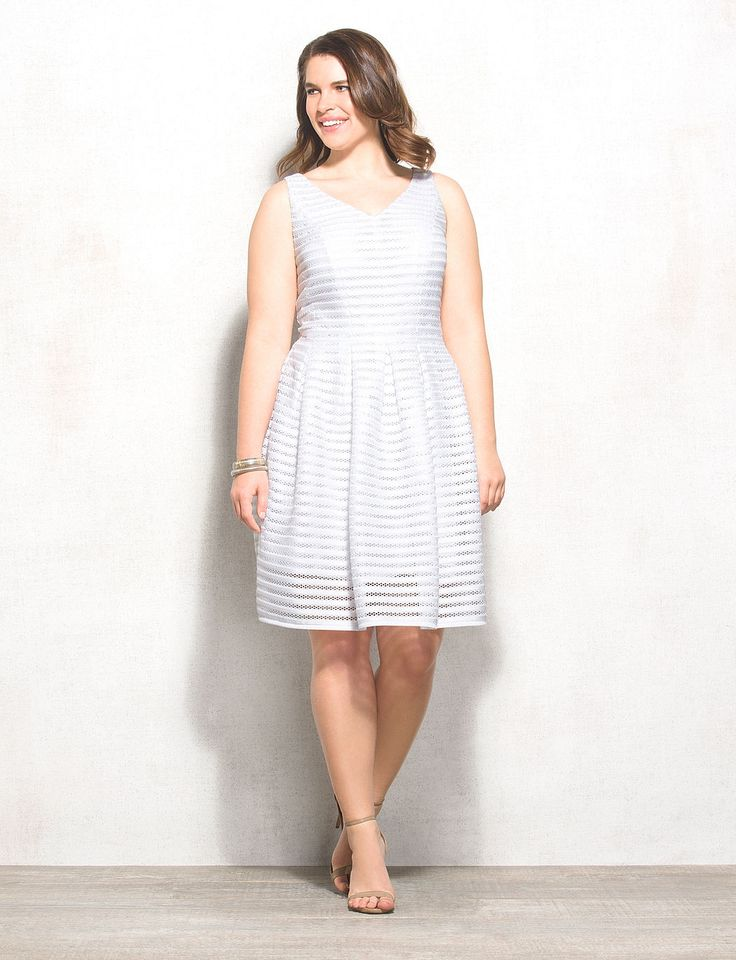 BEYOND by Ashley Graham™ Plus Size White V-Neck Dress
