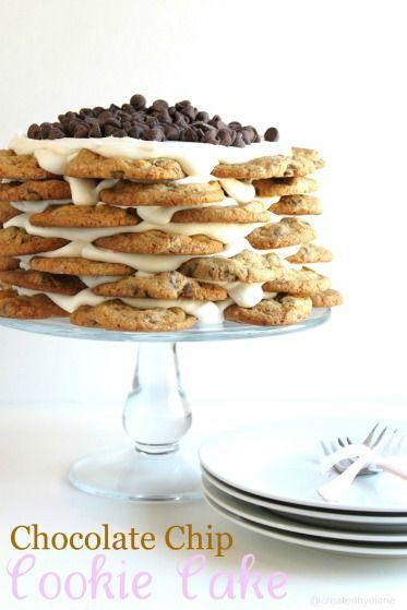 Chocolate Chip Cookie Cake @createdbydiane