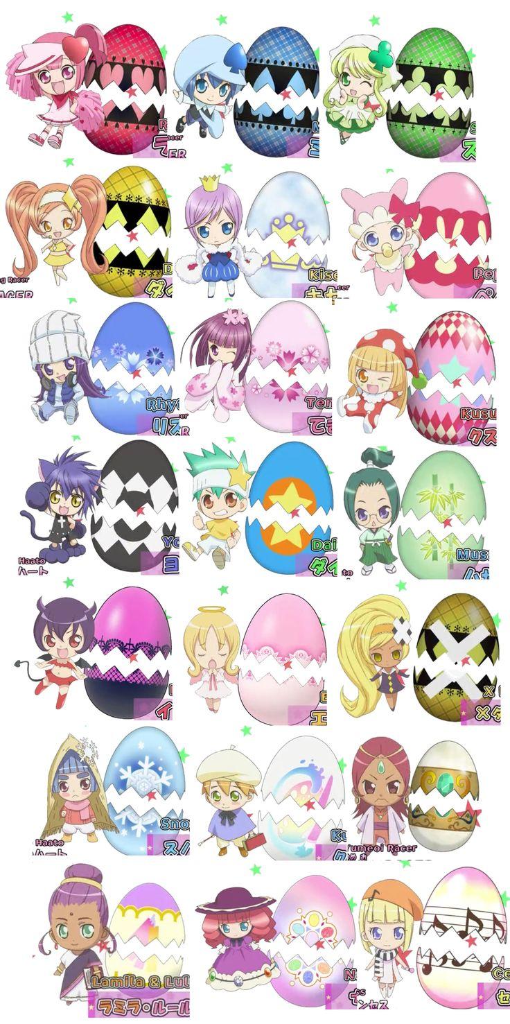 Shugo Charas : Ran-Miki-Su-Dia-Kiseki-Peppe-Rhytm-Temari-Kusu Kusu-Yoru-Daichi-Musashi-Iru-Eru-Dia X-Snoppe-OUBLIÉ -OUBLIÉ-Ramira-Nana