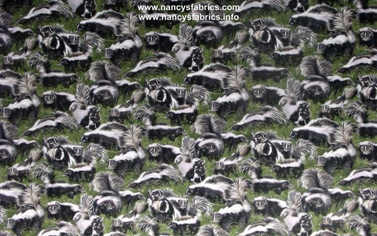 Backyard Bandits Skunks Cotton Quilting Fabric Skunk