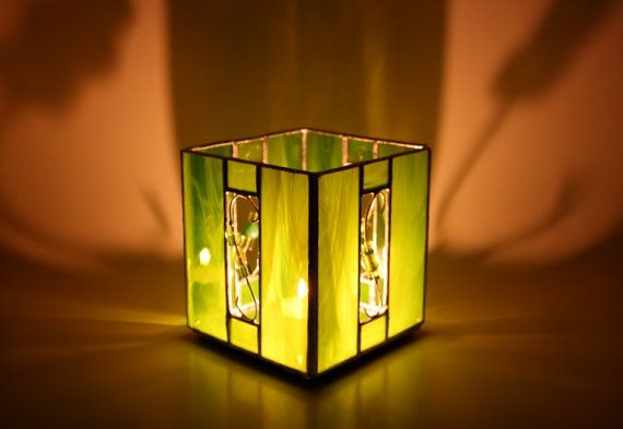 Stained Glass Green Candle Holder by GailsGlassGarden on Etsy, $28.00