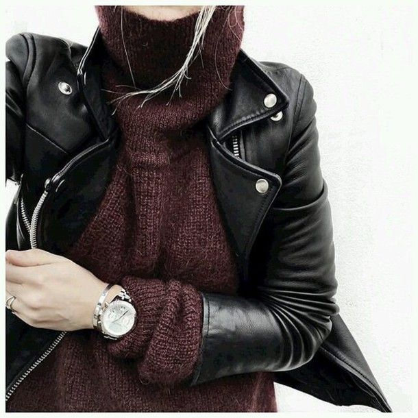 Sweater: burgundy burgundy perfecto black leather jacket black jacket turtleneck…