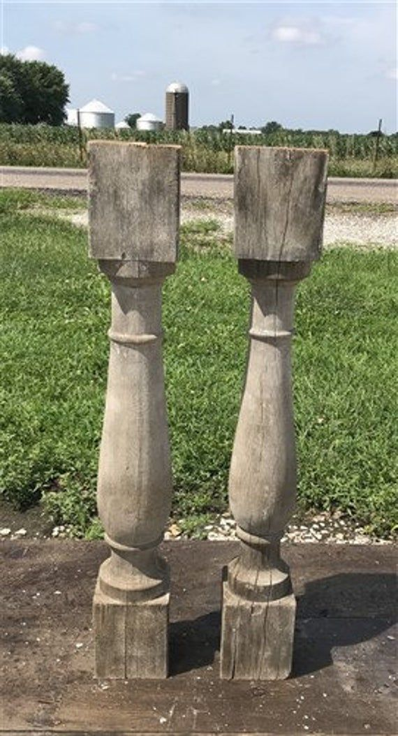 Best Pair Antique Wood Balusters Architectural Salvage 400 x 300