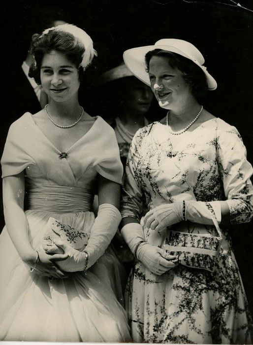 Princess Sophia of Greece (now Queen Sofia of Spain) and Princess Irene of the Netherlands, late 1950s