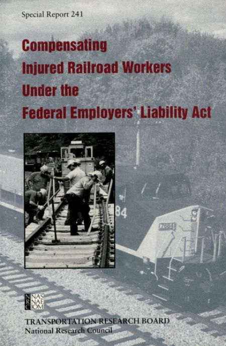 Compensating Injured Railroad Workers Under the Federal Employer's Liability Act: Special Report 241  Final Book Now Available  TRB Special Report 241 - Compensating Injured Railroad Workers Under the Federal Employer's Liability Act assesses the injury compensation system that has evolved under Federal Employer's Liability Act (FELA) and compares it with the no-fault compensation systems that cover most U.S. workers.  Railroad workers who are injured on the job seek compensation for their…