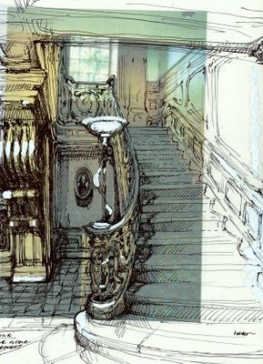 sketchbook activity - perceiving perspective - Draw over architectural zine interior & expand contours using own insights as to structure
