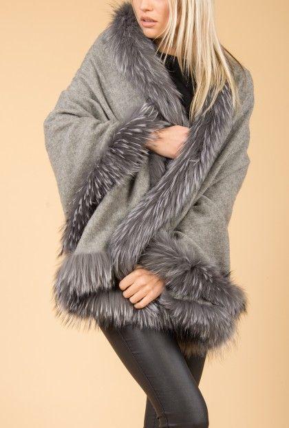 Jayley Grey Fur Wrap | Wool Wraps