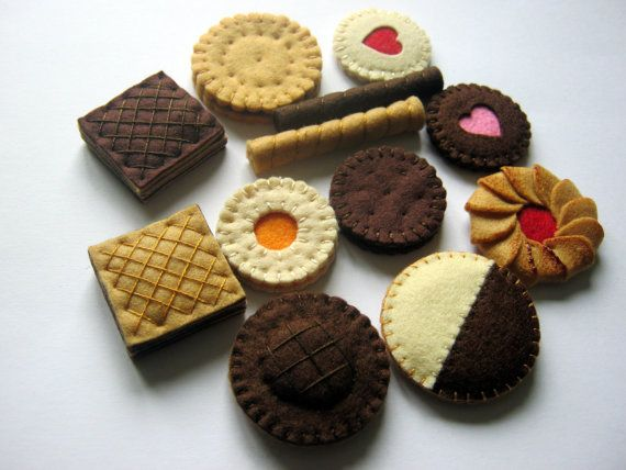Felt food set  felt cookies including jaffa cake by DusiCrafts, $34.00