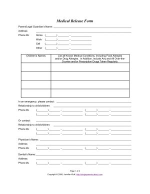 Use This Medical Release Form to Protect Your Kids in an Emergency: Printable Medical Release Form