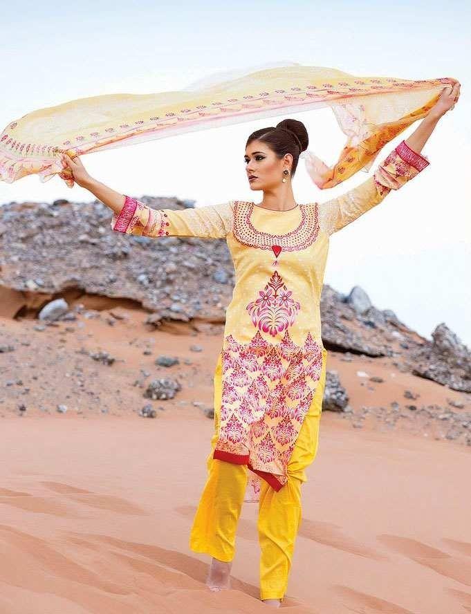 Why #Buy #Cotton #Designer #Salwar #Kameez Through #Online #Shopping? Yellow & Red Cotton Salwar Kameez With Chiffon Dupatta & Floral Print