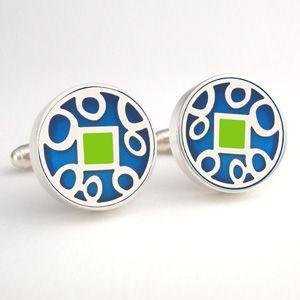 Sterling silver large round Victoria Varga cuff links with blue & green resin inlay. Hand made and high tech! $185.00 www.victoriavarga.com