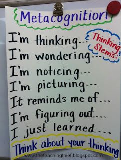 "Making this a routine to ask students ""What are you thinking?"" and they respond with one of these prompts"