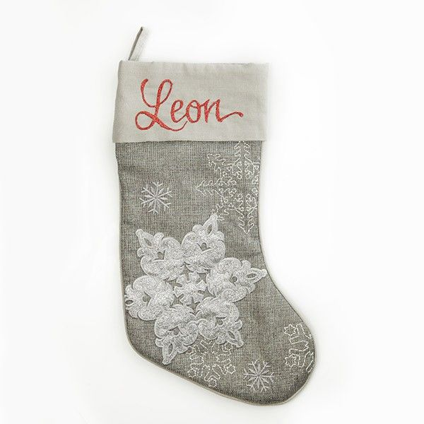 Personalised Stocking   Silver Snowflake Stocking