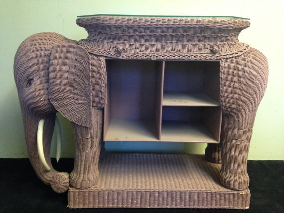 Rare And Fabulous Oversized Vintage Wicker Elephant Bar