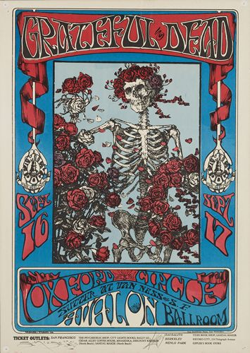 Poster Art: Skull and Roses/Grateful Dead  by Alton Kelley and Stanley Mouse, 1966