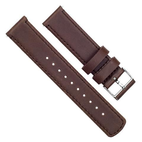 Saddle Brown Leather &  Stitching-Pebble  - Quick Release Leather Watch Band - Barton Watch Bands