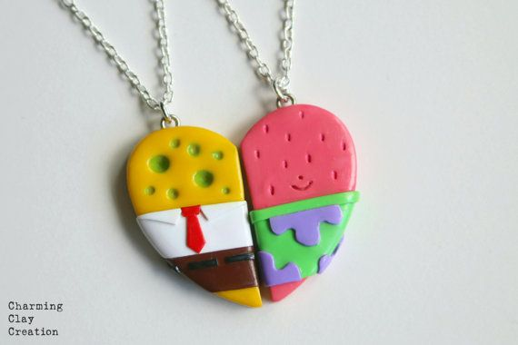 Spongebob and Patrick Friendship Necklaces by CharmingClayCreation