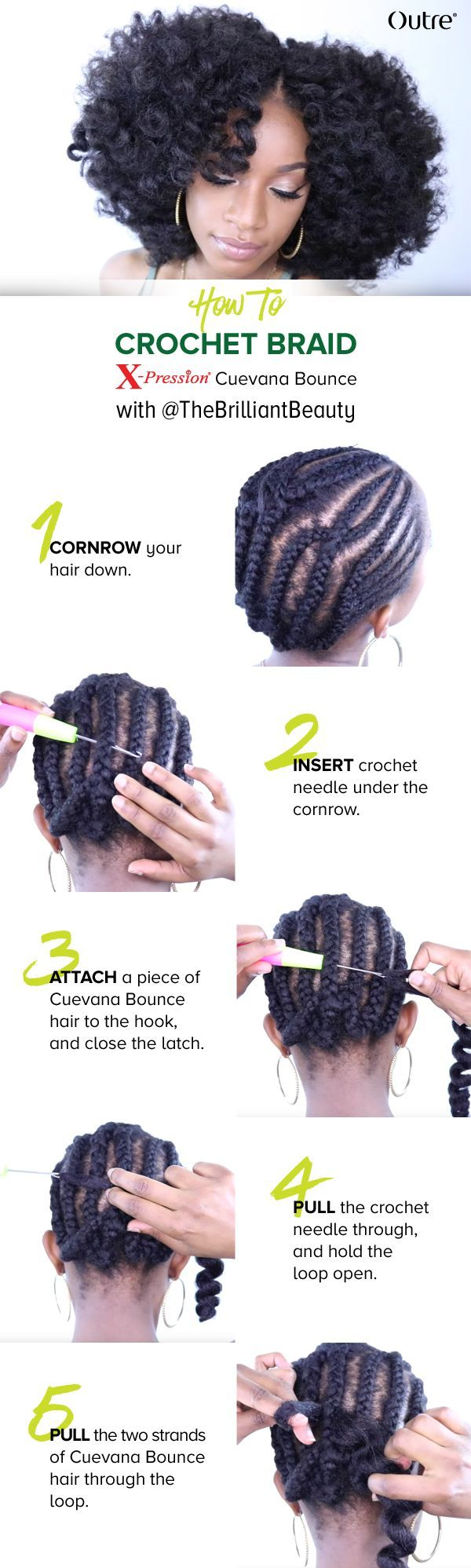 Learn how to Crochet Braid with @theBrilliantBeauty || Outre Xpression Cuevana Bounce