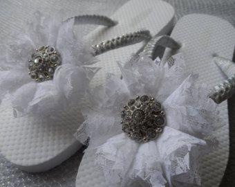 Wedge Bridal Flip Flops / Wedding Rhinestone & by RossyAccesorios