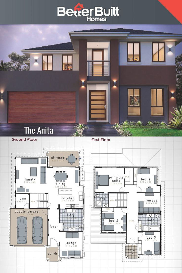 The Anita: Double Storey House Design.  313 Sq.m – 12.0m x 17.6m The Anita designer home adds a new level of free- flowing lifestyle, clever ideas and has plenty of space to spread out and relax. It boasts 4 large bedrooms, gym, family, lounge and rumpus room upstairs.  Truly an entertainer's delight with open plan kitchen and dining opening directly onto the outdoor alfresco area. A place to get lost in and find yourself. #floorplans #BetterBuilt #housedesigns