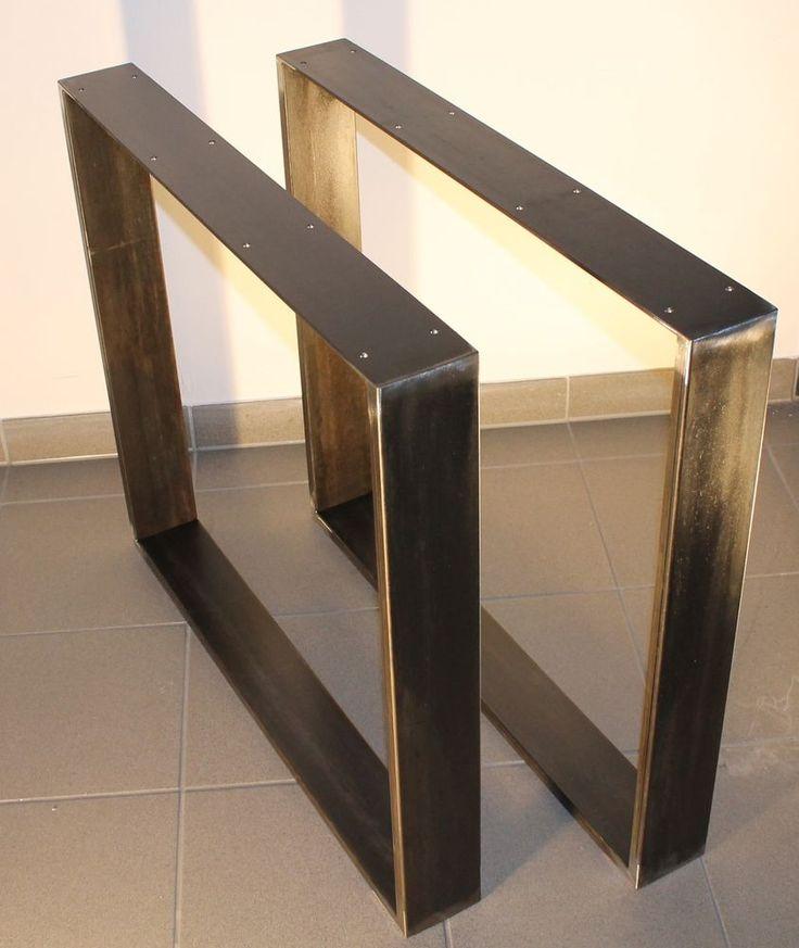 Tischkufen Industriedesign Tischgestell schwarz Rohstahl 80 x 73 Design   – Furio Di Marzo